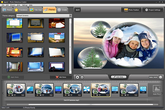 Select slideshow theme