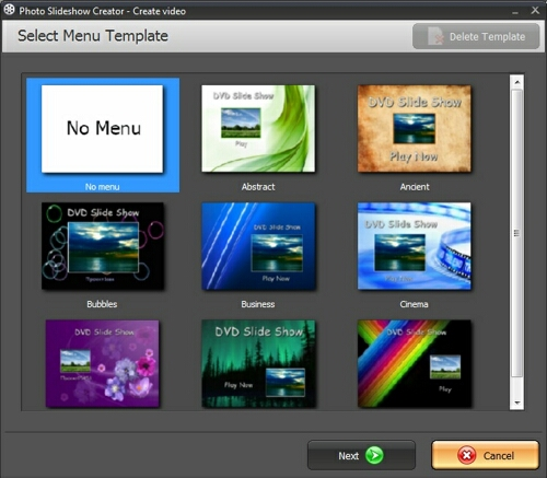 How to burn DVD slideshow: menu templates